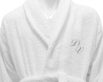 Personalized White Bathrobe Hotel Spa Edition Shawl Collar Silver Monogram 41f3d9468