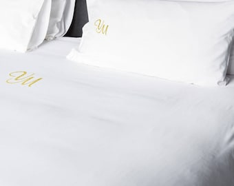Gold Personalized Monogram Double Flat Bed Sheets