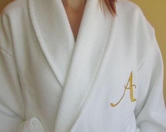 Luxury Woman Ladies Wedding Bathrobe Gold Monogram and Name Personalized  Waffle   Terry White 59faead1a