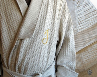 Personalized Dark Beige Men Waffle Bathrobe With Gold Monogram and Name 661f304ff