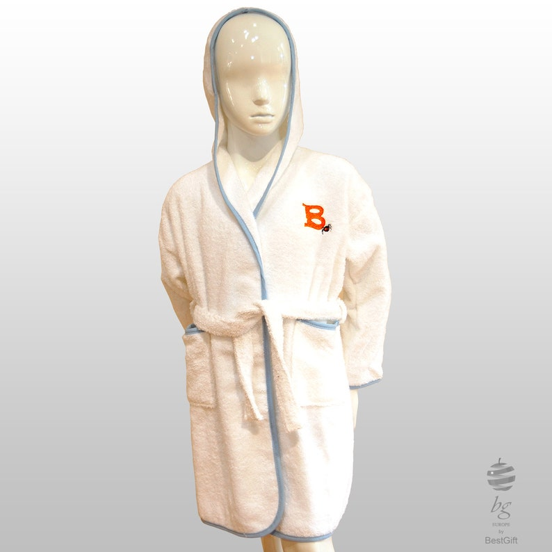 Personalized Children Halloween Costume Hooded Terry Toweling Robe White and blue  pink