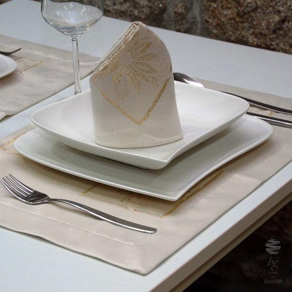 Napperon de Table Noël luxe - Anti tache preuve résistante - Pack de 2 unités - Réf. Noël