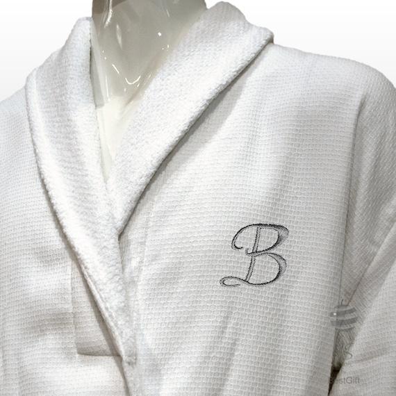 57a8e66cbb Luxury Men Bathrobe With Silver Monogram and Name Personalized
