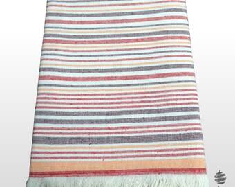 Fouta Beach Towel with Red and Orange Stripes