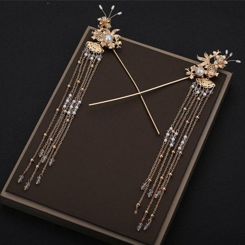New made to order hanfu inspired Chinese  dragon and Phoenix hair set tiara wedding hair accessories