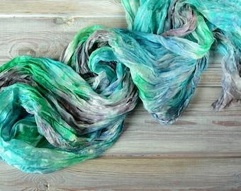 silk scarf, blue silk scarf, green scarf, emerald silk scarf, birthday gift mom, birthday idea wife, women scarves, green scarf