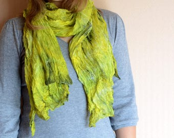 Lime green silk scarf for women- hand painted 35x70in mom birthday gift