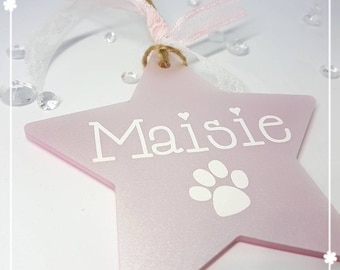 Personalised pet Christmas decorations Dog Cat Paw Christmas tree bauble