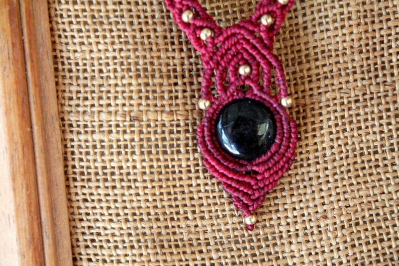 red color with brass beads Golden obsidian Macrame necklace with semi-precious stone Obsidian gold Garnet macram\u00e9 pendant