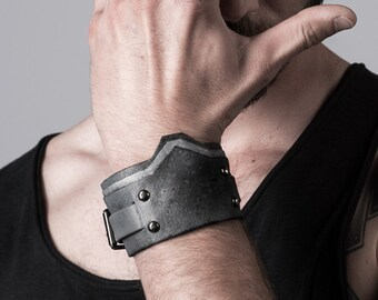 Bracelet for men leather cuff for men Grey Leather Bangle gift for men / MH2