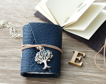 Book chain, pendant with blue leather mini-guide and tree charm, personal gift with space for photos or text, small photo album