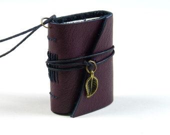 Book pendant with leather cover, necklace with bronze leaf charm, miniature scrapbook album, mini photo album