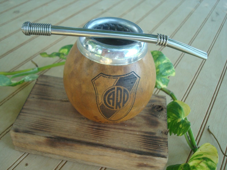 River Plate Soccer Mate Cup Calabaza Removable Filter Logo River CARP  football River Plate Yerba Tea With Straw Argentina Straw