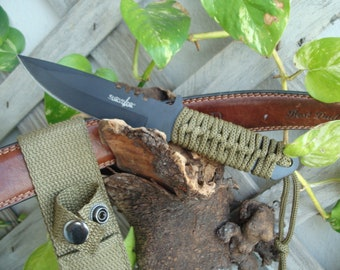 Collectible Knife  Outdoor Fixed Blade Knife 7.5 in Overall - gifts knife, green knife, gifts for Friend, gift Daddy Knife Camping  7525