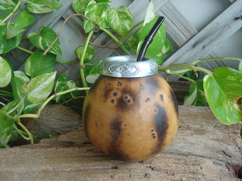 Bombilla Color Silver Black Gold Rose Argentina Yerba Tea With Straw Mate Calabaza  Gourd Hand Carved Mate Gourd Natural Shading