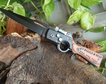 Personalized knife, Gun Knife with LED, pocket knife, engraved knife, folding knife, gift for him, groomsmen gifts, groomsmen knives, 047
