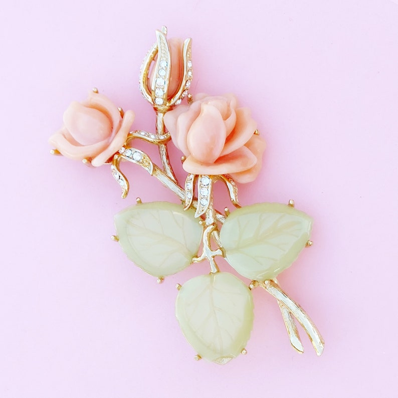 1990s Vintage Oversized Gilt Figural Roses Brooch with Faux Coral /& Jade by Nolan Miller