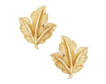Gold Maple Leaf Earrings By Crown Trifari, 1960s
