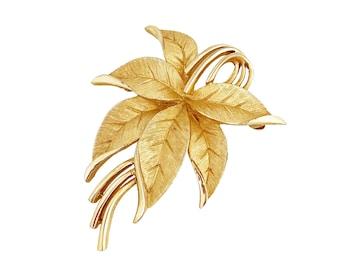 Gold Textured Leaf Spray Brooch By Crown Trifari, 1960s