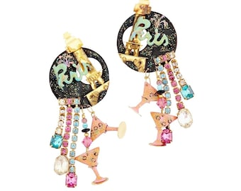 Paris Themed Enamel Dangle Statement Earrings By Lunch At The Ritz, 1980s