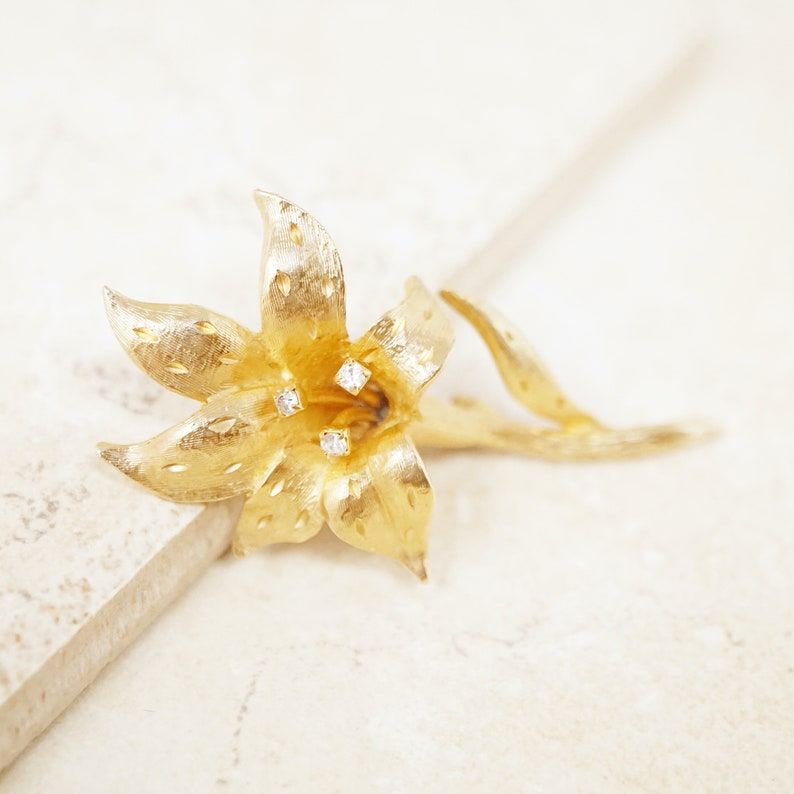 Vintage Gilded Lily Flower Figural Brooch with Crystal Rhinestones by Erwin Pearl 1990s