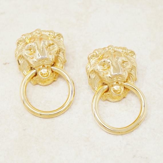 Vintage Gilt Lion Door Knocker Statement Earrings,