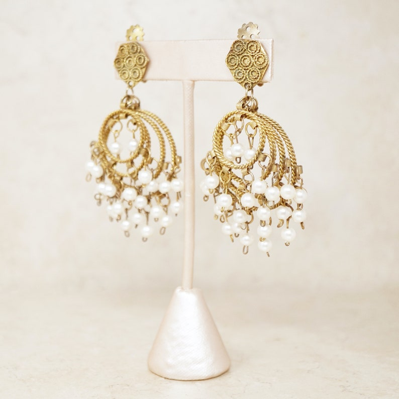 1970s Vintage Pearl Hoop Chandelier Earrings
