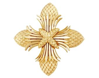 Gold Rush Series Pinecone Texture Maltese Cross Brooch By Crown Trifari, 1960s