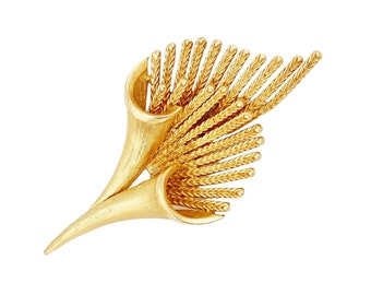 Gold Abstract Spray Bouquet Brooch By Coro, 1960s