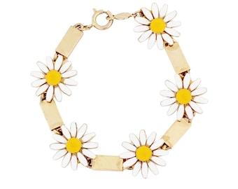 Enameled Daisy Link Bracelet By Accessocraft, 1970s
