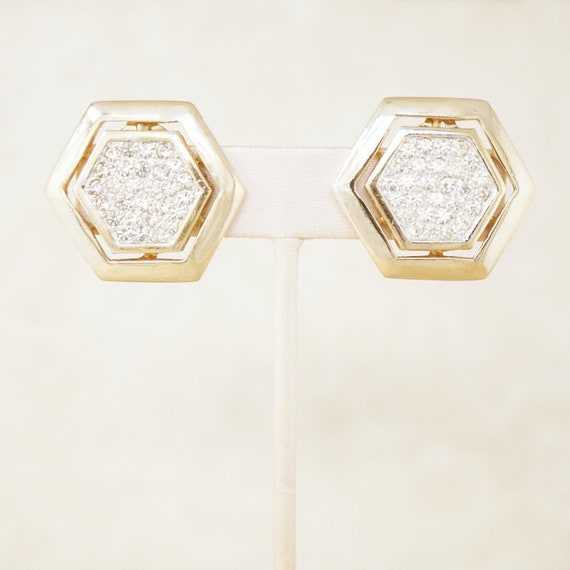 Vintage Gilded Hexagon Statement Earrings with Cry