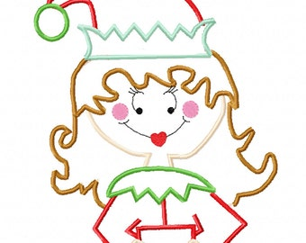 Christmas Elf Girl Applique Embroidery Design