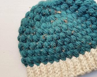 ad23780fc48 Adult Blue Ponytail Hat - Child Ponytail Hat - Blue Bun Hat - Peacock -  Puff Stitch Ponytail Hat - Crochet Ponytail Hat