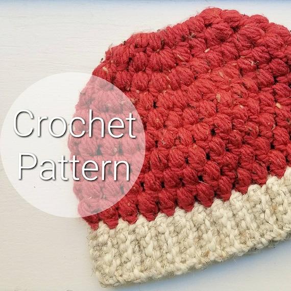 Adult Puff Stitch Messy Bun Hat Crochet Puff Stitch Hat Etsy