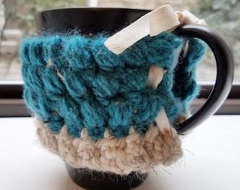 Mug Coffee Cup Cozy - Coffee Cup Cozy with Tie - Puff Stitch Mug Cozy - Adjustable Crochet Mug Cozy - Crochet Coffee Cup Cozy
