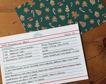 Christmas Gift | Foodie Gift | Hostess Gift | Food & Kitchen | Baking | Cooking | Holiday Christmas Gingerbread Cookie Recipe Cards