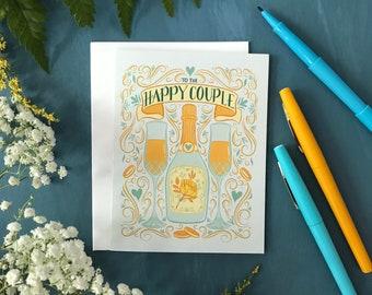 Happy Hour Wedding Card | Champagne Love Wedding Card | Floral Card | Happy Couple Wedding Congratulations Card