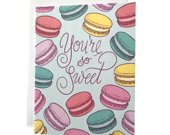 Macaron Love Card | You're So Sweet Anniversary Card | Sweet Thank You Card For Her or Him