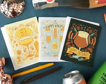 Happy Hour Cards 3-Pack | Craft Beer Hoppy Birthday, Art Deco Bee's Knees and Happy Couple Champagne Wedding Card