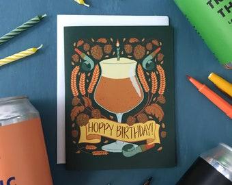 Hoppy Birthday Craft Beer Lover Birthday Card | Hops Birthday Card for Him or Her