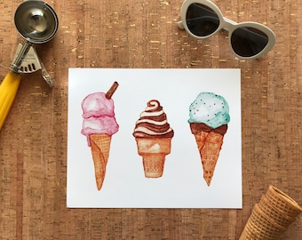 Food & Kitchen | Mother's Day Gift | Housewarming Gift | Foodie Gift | Watercolour Ice Cream Cone Dessert Illustration 8x10 Art Print