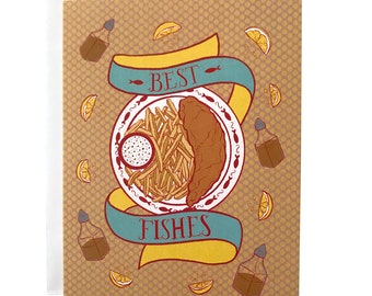 Best Fishes Pun Birthday Card for Him or Her | Fish and Chips Congrats Card for Him or Her | Pub Food Thank You Card for Him or Her