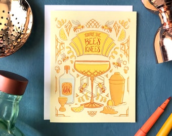 Bee's Knees Gin Cocktail Card | Art Deco Birthday Card | Bee's Knees Card for Him or Her or Anyone