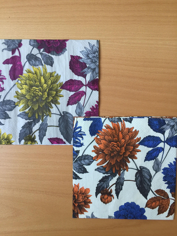 Paper Napkins For Decoupage Set 4 Floral Napkins Etsy