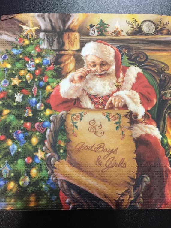 4 Solo Papel Servilletas Para Decoupage mercado de Navidad Invierno