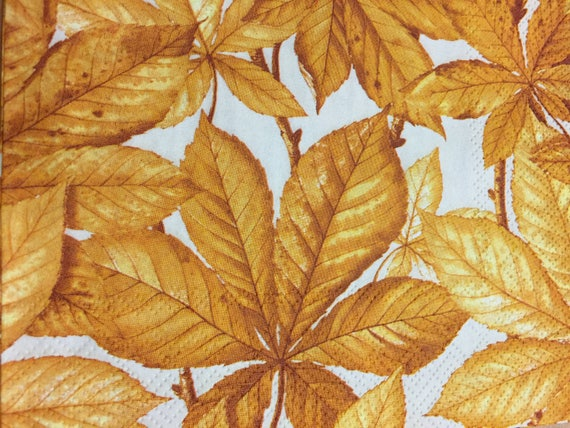 Paper Napkins For Decoupage Set of 4 Autumn Leaves Chestnut leaves