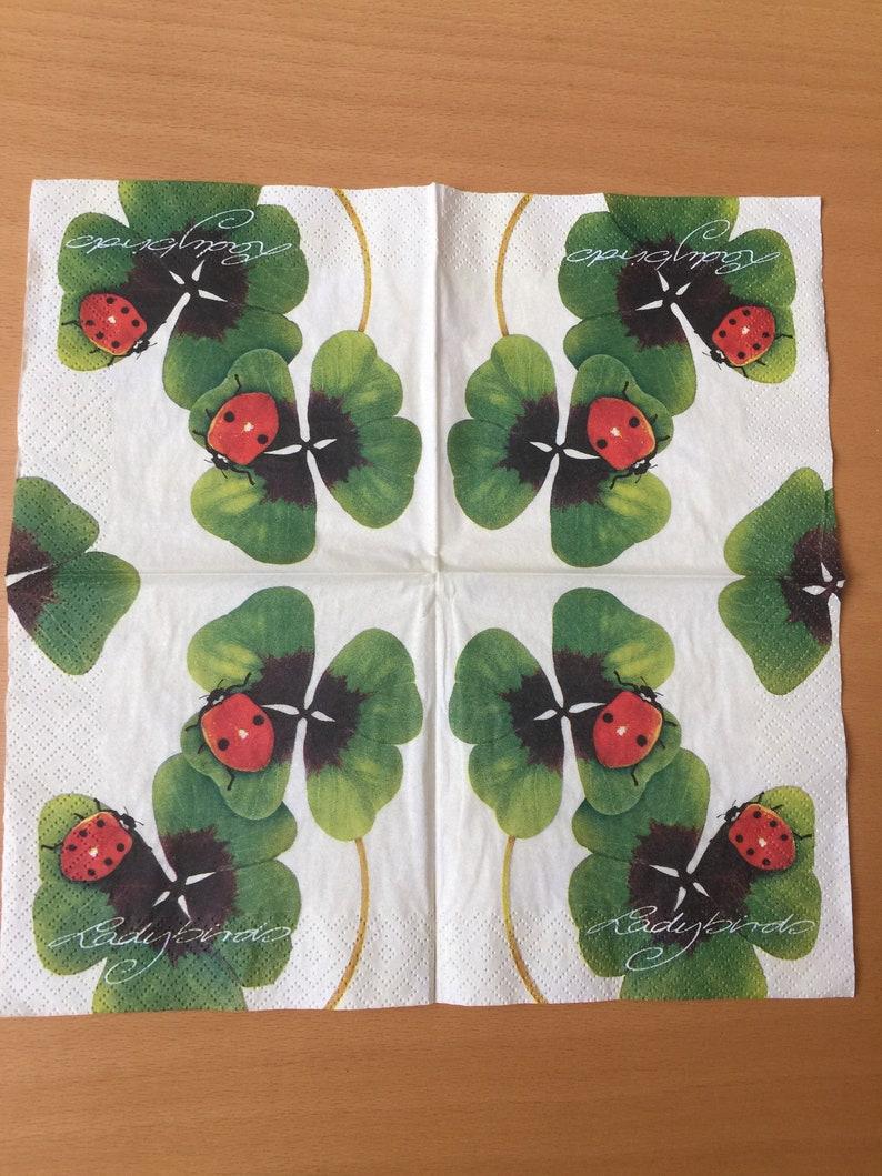 Paper Napkins For Decoupage Set 4 Easter Napkins Ladybirds Napkins