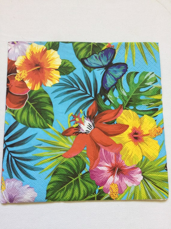 4 x Paper Napkins Tropical Flowers Ideal for Decoupage Napkin Art