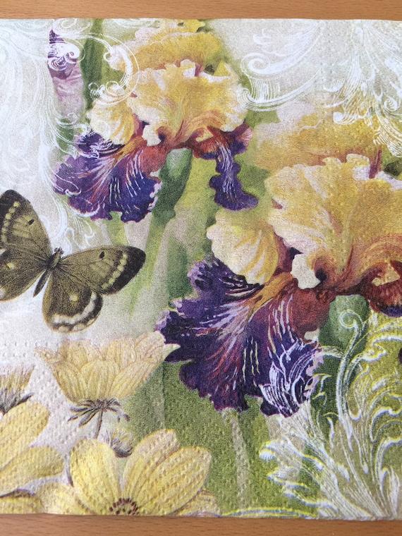 Decoupage Paper Napkins Iris Floral Napkins Set 4 Etsy