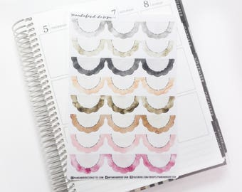 24 Scalloped Half Box Planner Stickers | Neutral Watercolor Scallops